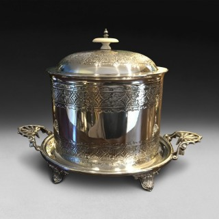 Victorian Silver Plated Oval Biscuit Barrel on stand