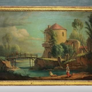 A LATE XVIII CENTURY TRUMEAU MIRROR