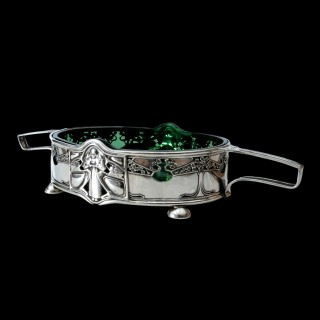 A Kate Harris art nouveau silver two handled dish
