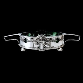 A Kate Harris art nouveau silver two handled dish