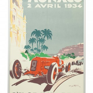 Original 1934 Monaco Grand Prix Motor Racing Poster.