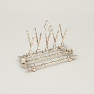 Antique Golf Toast Rack, Silver Plate