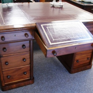 English, George 1V period. Mahogany Partners Desk stamped Gillows Lancaster