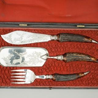 Set of Vintage Fish Servers & Crumb Scoop With Antler Handles