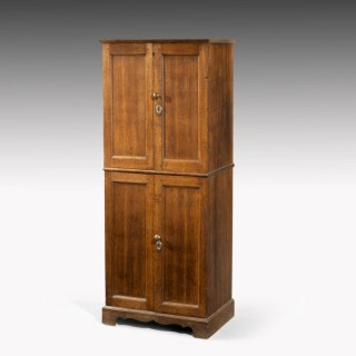 A Most Unusual Oak George III Period Two Section Cupboard