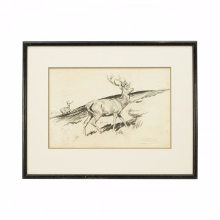 Original Lionel Edwards Pencil Drawing Of A Stags on the Hill