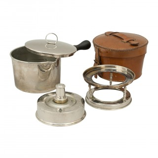 Army & Navy Campaign Spirit Stove in Leather Case With Sauce Pan