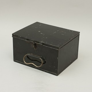 Antique Japanned Tin Fly Box With Lift Out Compartments With Lids