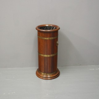 Brass Banded Mahogany Stick Stand