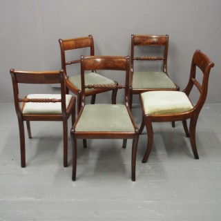 Set of 5 Regency Mahogany Dining Chairs