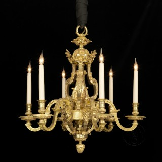 Louis XIV Style Gilt-Bronze Six-Light Chandelier