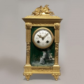 A Louis XVI Style Green Enamel Mantel Clock