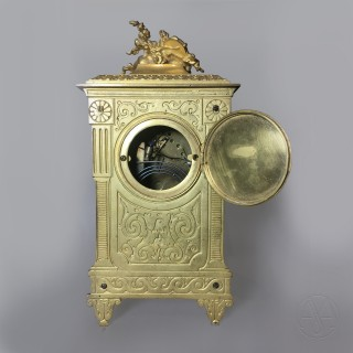 A Louis XVI Style Green Enamel Mantel Clock