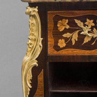 An Unusual Louis XV Style Marquetry Secretaire Pedestal