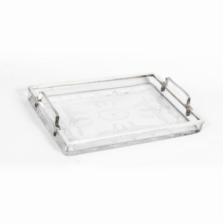 Antique Art Deco Sterling Silver and Crystal Serving Tray by Hawkes, C 1930
