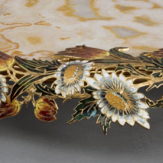 An Unusual Gilt-Bronze Mounted Champlevé Enamel, Alabaster Fiorito Centrepiece