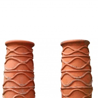Pair Of Reclaimed Terracotta Chimney Pot Planters