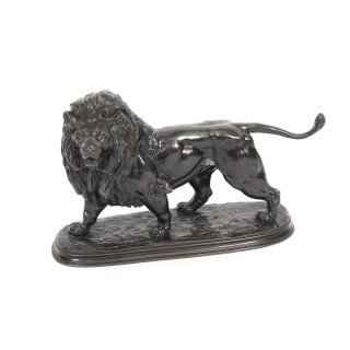 Antique French Bronze Sculpture of a Pacing Lion by Edouard Delabrierre 19th C