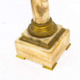 Antique French Louis Revival Alabaster Ormolu Mounted Torchere Pedestal 19th C