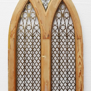 Antique Pine And Brass Ecclesiastical Door