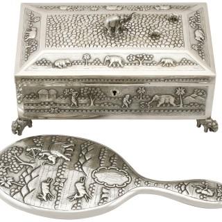 Indian Silver Dressing Table Set - Antique Circa 1890