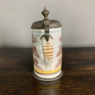 Continental Ceramic And Pewter Antique Tankard