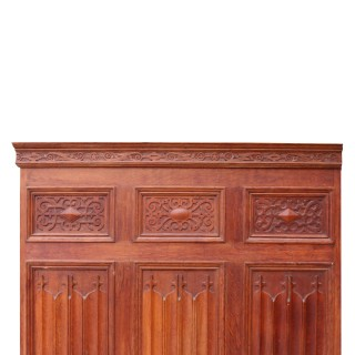 Antique Carved English Oak Linenfold Panelling