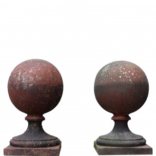 Pair Of Antique Reclaimed Terracotta Ball Finials
