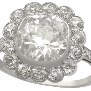 4.47 ct Diamond and Platinum Cluster Ring - Antique Circa 1910