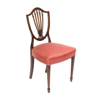 Antique Set 8 English Mahogany Hepplewhite Inlaid Dining Chairs 19th Century