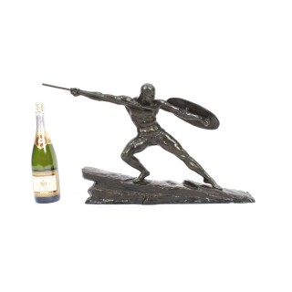 Antique French Art Deco Green Patinated Bronze of Semi-nude Warrior c.1930