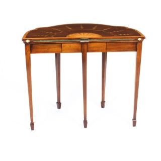 Antique Pair Mahogany and Satinwood Inlaid Serpentine Card Console Tables 19th C