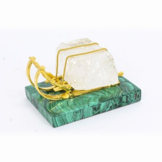 Antique Russian Gilt Bronze Malachite Rock Crystal Sleigh Sculpture C 1870