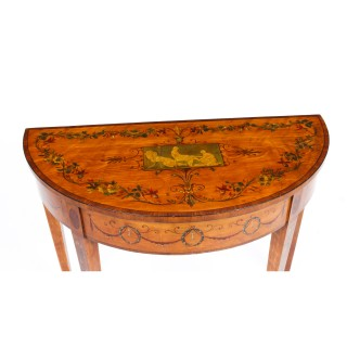 Antique Victorian Satinwood and Harewood Half Moon Painted Console Table 19th C