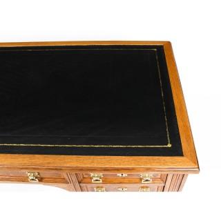 Antique Victorian Oak and Pollard Oak Writing Table Desk c.1850 19th Century