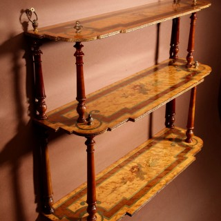 A Very Decorative French Hanging Marquetry Etagere Napoleon III