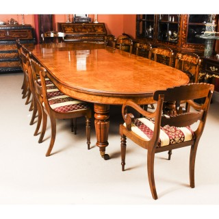 Antique Pollard Oak Victorian Dining Table 19th C & 12 Bespoke Chairs