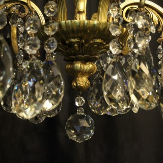 Italian Gilt Bronze 8 Light Antique Chandelier