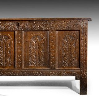 A Large and Finely Carved Early 18th Century Blanket Box