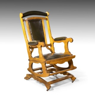 A Good Late 19th Century Beech Framed American Rocking Chair