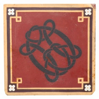 Antique Monogrammed Minton Encaustic Tile
