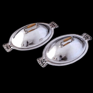 Charles Ashbee for the Guild of Handicraft pair of  arts and crafts covered dishes