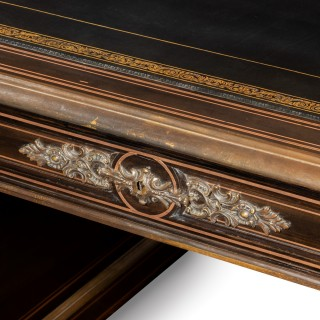 A large Napoleon III ebonized partners' desk Circa 1860
