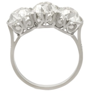 4.81 ct Diamond and 18 ct White Gold Trilogy Ring - Antique Circa 1920
