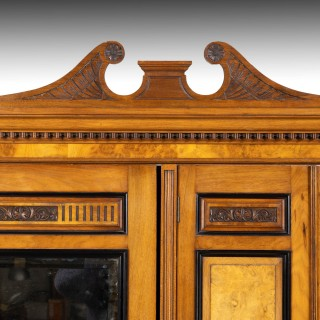 A Highly Complex Late 19th Century Gentleman's Burr Walnut and Maple Wardrobe