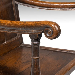 A William and Mary Period Oak Armchair