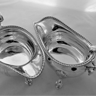 Superb pair armorial & crested George III silver sauce/gravy boats London 1814 William Bennett