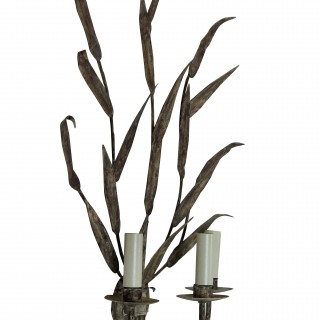 A PAIR OF LARGE TOLE WALL SCONCES
