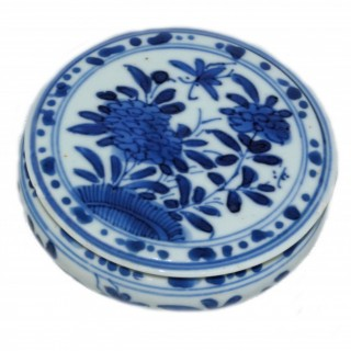 Kangxi Blue and White Compressed Form lidded Box
