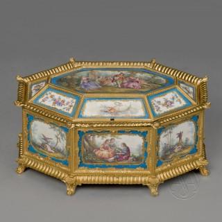 Louis XVI Style Sèvres-Style Porcelain Mounted Octagonal Table Box